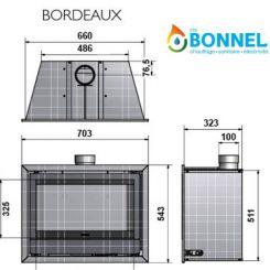 WANDERS insert gaz BORDEAUX schéma (dimensions) - Ets Bonnel